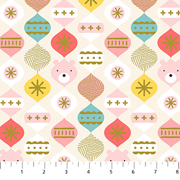 Bear Bauble Beige from the Polar Magic collection by Figo Fabrics, 100% cotton fabric