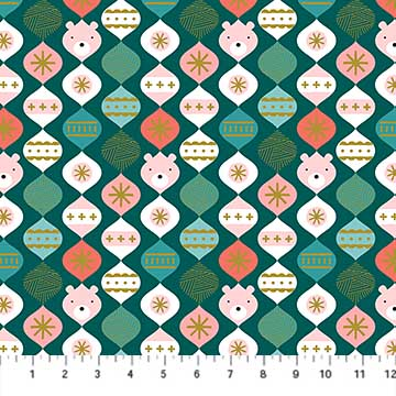 Bear Bauble Teal from the Polar Magic collection by Figo Fabrics, 100% cotton fabric