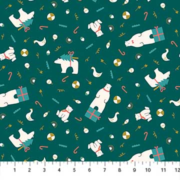 Bear Presents Teal from the Polar Magic collection by Figo Fabrics, 100% cotton fabric