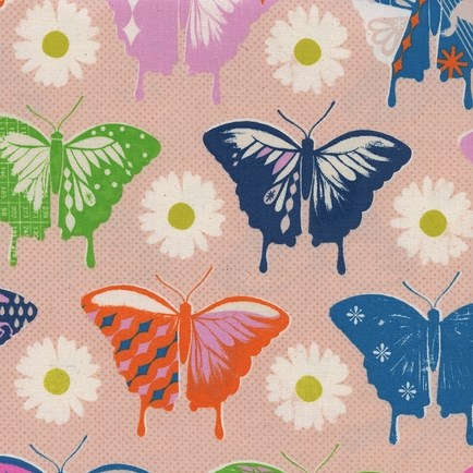 Butterlies Peach from the Flutter collection by Cotton + Steel