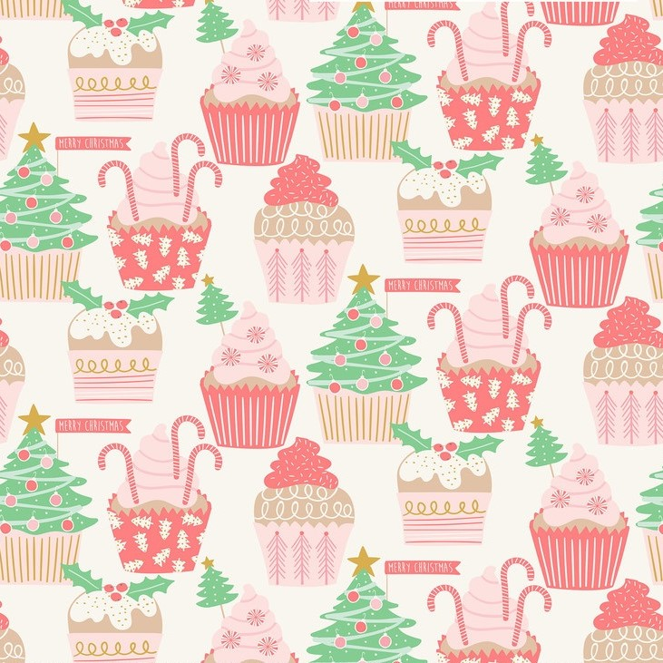 Christmas Cupcakes Ivory from the Kringle's Sweet Shop collection by Blend Fabrics. 100% cotton