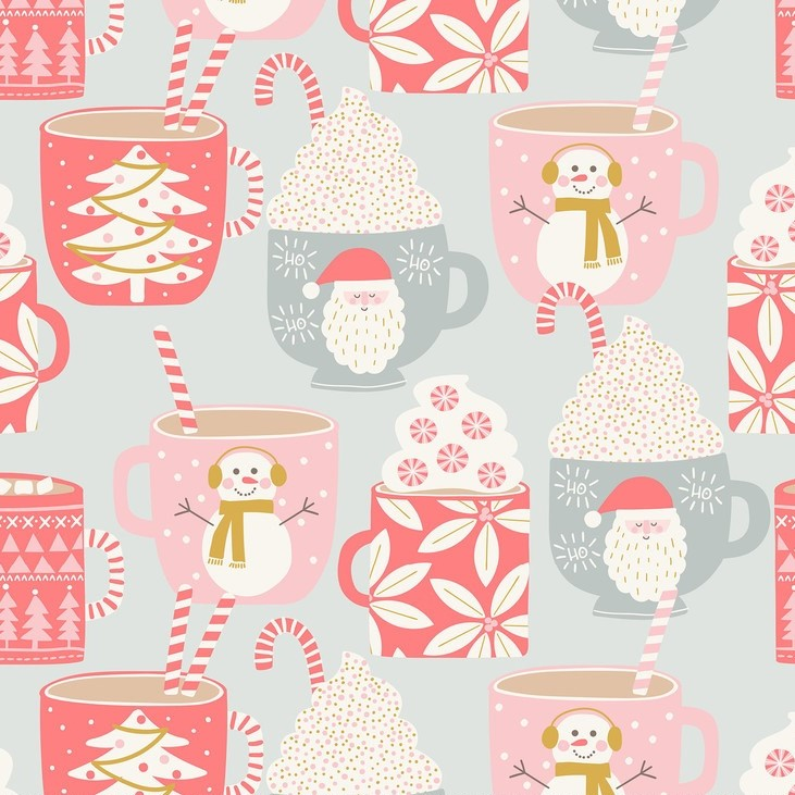 Cups of Cocoa Grey from the Kringle's Sweet Shop collection by Blend Fabrics. 100% cotton