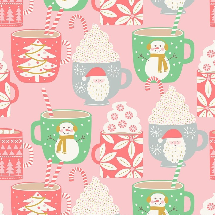Cups of Cocoa Pink from the Kringle's Sweet Shop collection by Blend Fabrics. 100% cotton