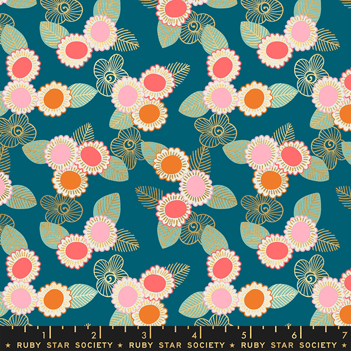 Embroidered Floral Teal from the Purl collection by Ruby Star Society