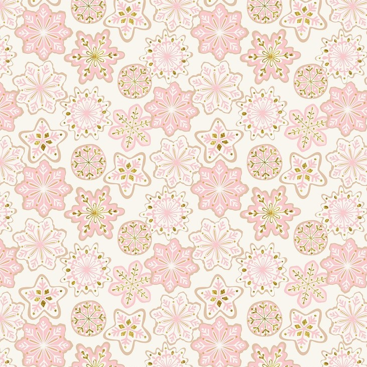 Frosted Snowflakes Ivory from the Kringle's Sweet Shop collection by Blend Fabrics. 100% cotton