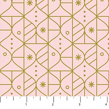 Ornaments Pink from the Polar Magic collection by Figo Fabrics, 100% cotton fabric