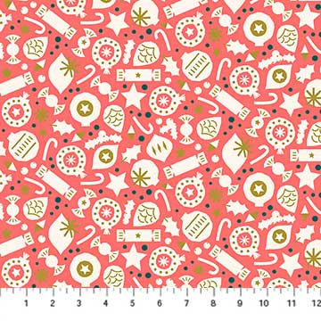 Party Coral from the Polar Magic collection by Figo Fabrics, 100% cotton fabric