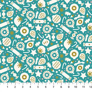 Party Turquoise from the Polar Magic collection by Figo Fabrics, 100% cotton fabric