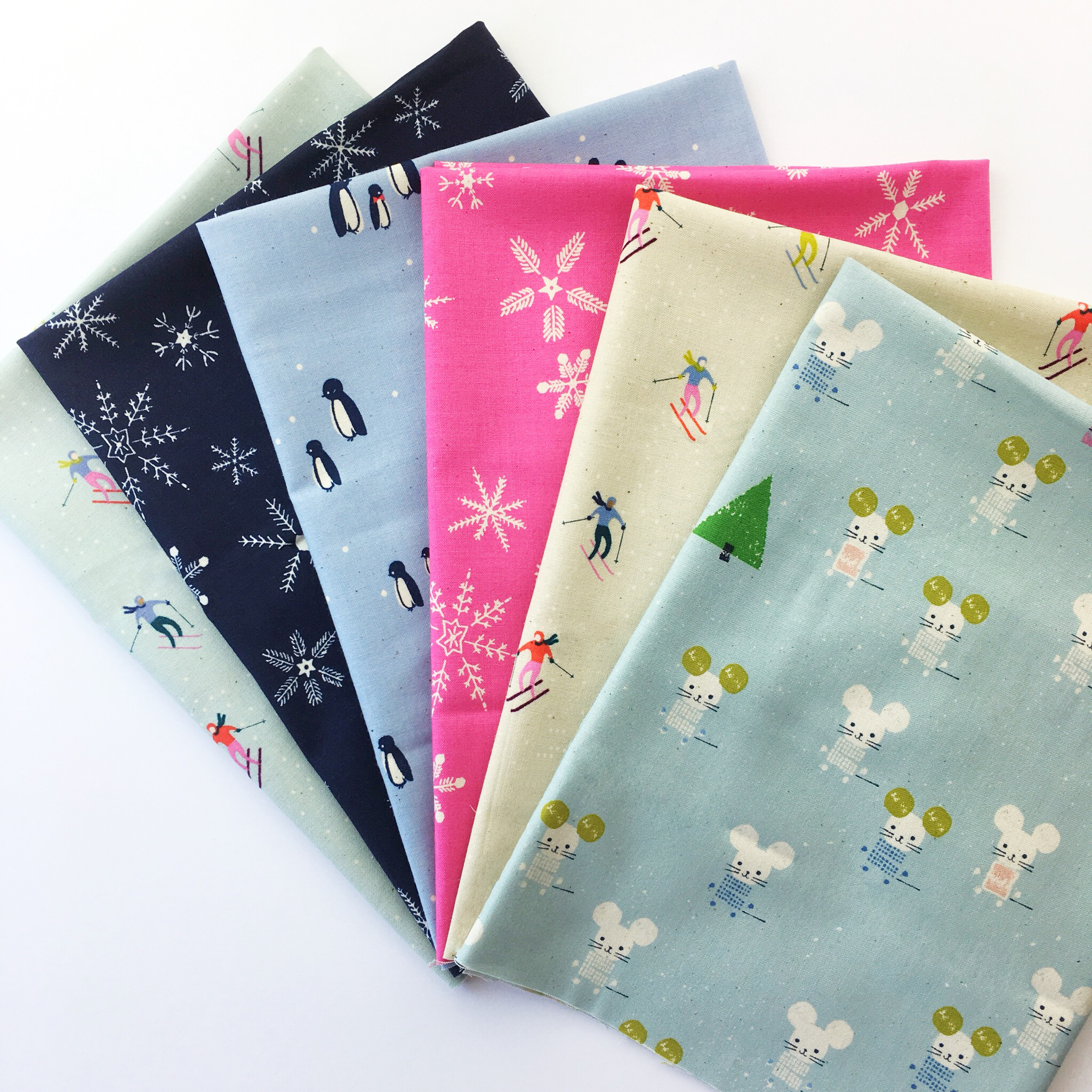 Frost Fat Quarter Bundle. 6 100% cotton fat quarters from the Frost collection by Cotton + Steel