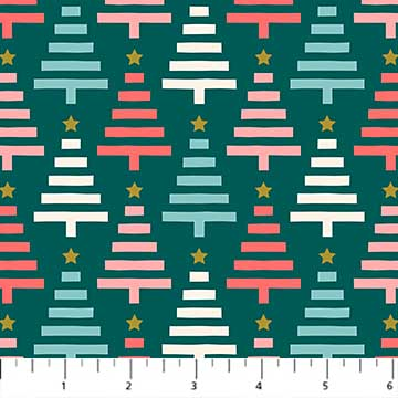 Trees Teal from the Polar Magic collection by Figo Fabrics, 100% cotton fabric